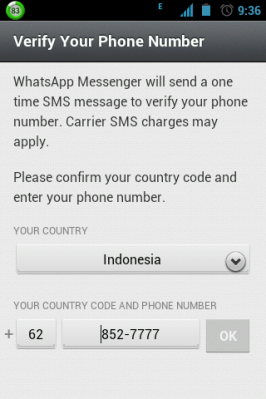 choose country name and phone number